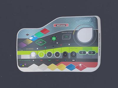 Farben, Symbole & Beschriftungen, transparente Oberflächen, Tasten, Prägung, Beschriftungsfunktion