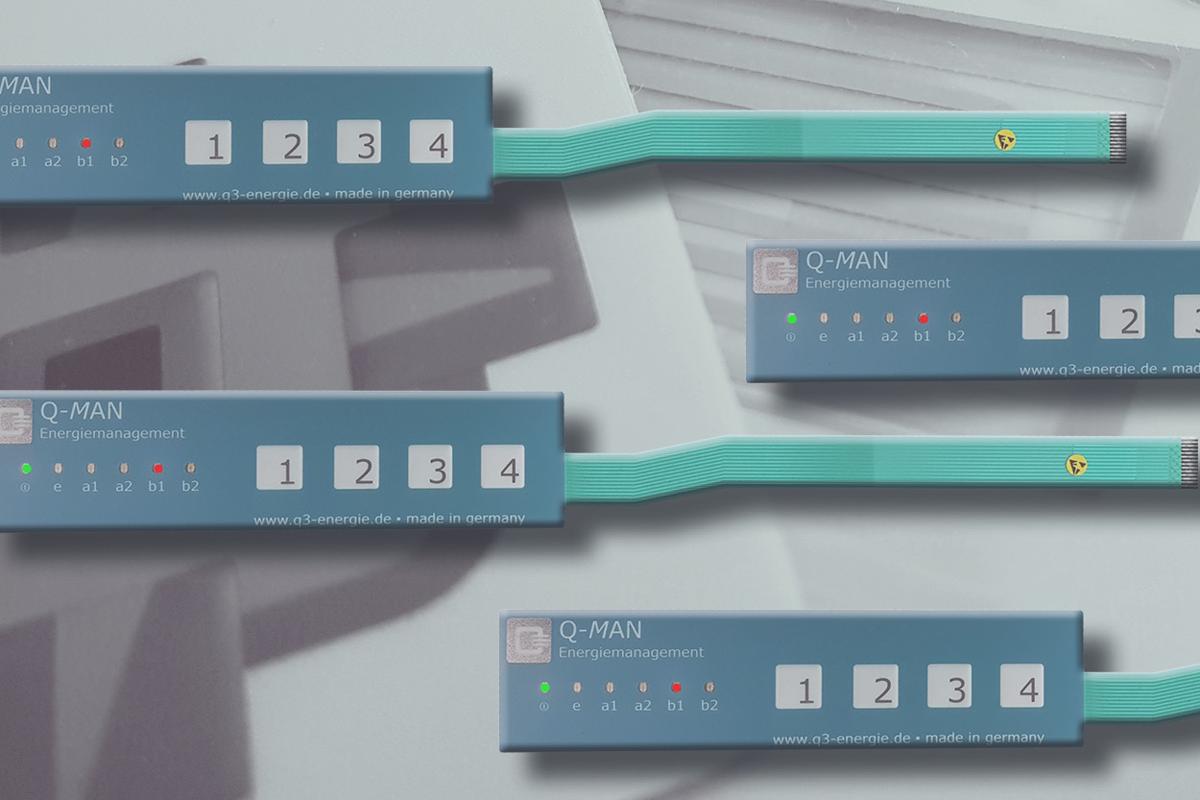 Folientastatur blau, grau und silber mit Tastenprägungen und LEDs
